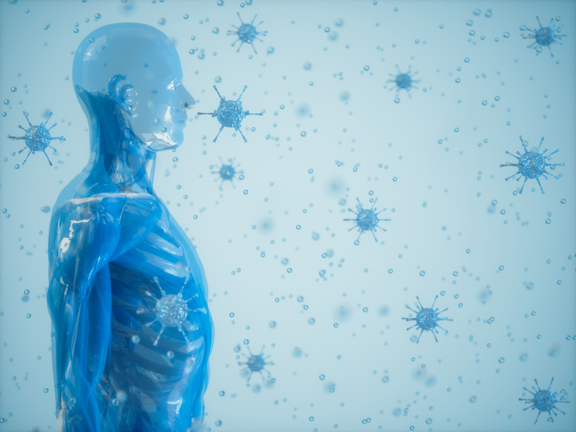 The human body and the immune system, infectious disease research concept